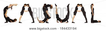 Black dressed people forming word CASUAL on white background