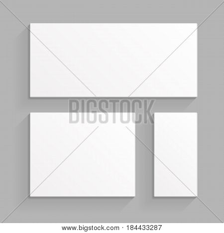 White Product Cardboard Package Boxes. Top View. Illustration Isolated On Gray Background. Mock Up Template Ready For Your Design. Vector EPS10