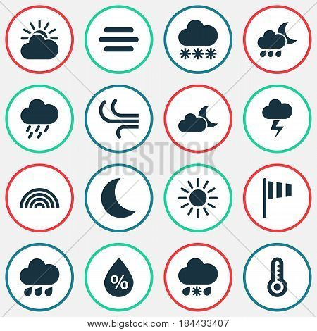 Nature Icons Set. Collection Of Moisture, Moonlight, Haze And Other Elements. Also Includes Symbols Such As Rain, Lightning, Snowy.