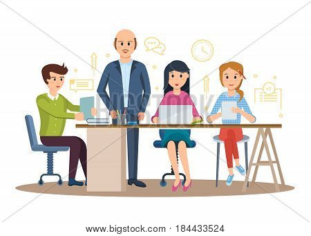 Set of business characters working in office, business man entrepreneur with colleagues. Modern vector illustration isolated in cartoon style.