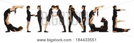 Black dressed people forming word CHANGE on white background