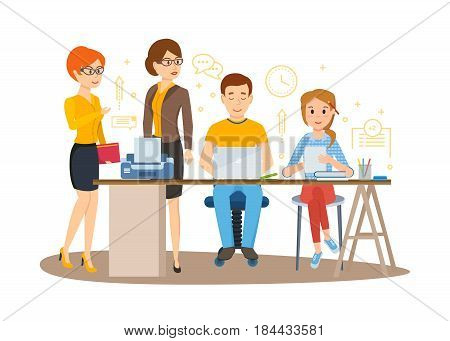 Group of office workers. Set of business characters working in office, business woman entrepreneur with colleagues. Modern vector illustration isolated in cartoon style.