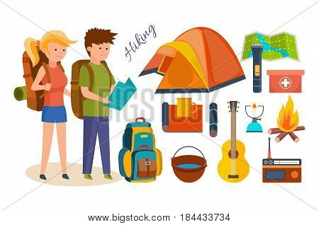 Set of basic equipment, tools and facilities in joint hikes, summer vacation, tourism, and camping. Modern vector illustration isolated on white background.