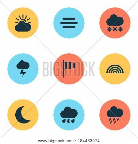 Climate Icons Set. Collection Of Snowy, Sun-Cloud, Colors And Other Elements. Also Includes Symbols Such As Sunlight, Rainy, Night.