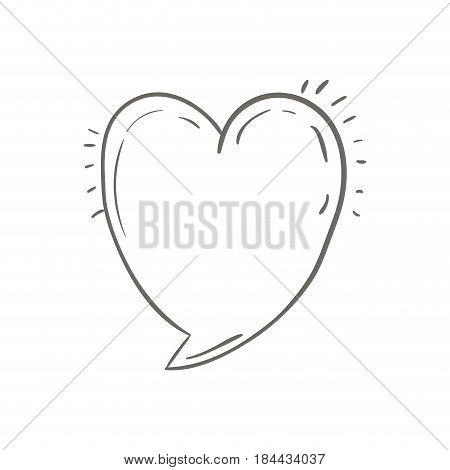 gray hand drawn speech in form of heart vector illustration