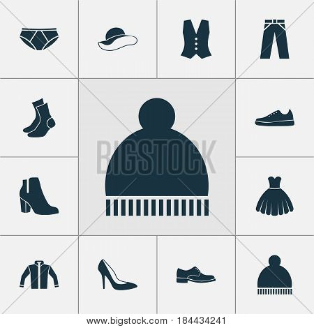 Clothes Icons Set. Collection Of Elegance, Pants, Sneakers And Other Elements. Also Includes Symbols Such As Jacket, Shoe, Headgear.