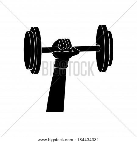 sihouette hand holding dumbbell weight fitness sport vector illustration