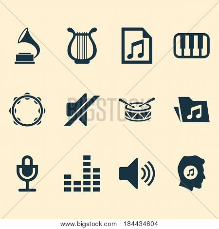 Music Icons Set. Collection Of Sound, Octave, Mike And Other Elements. Also Includes Symbols Such As Folder, Microphone, Equalizer.