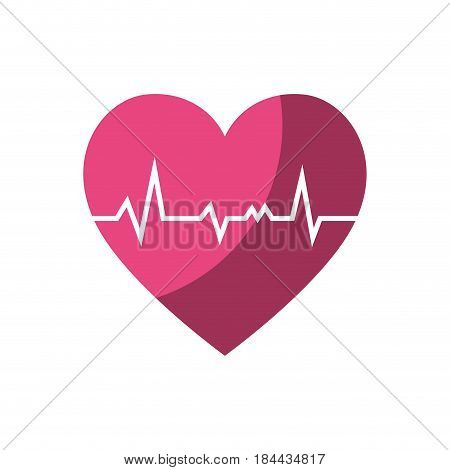 pink cardio heart icon over white background. vector illustration