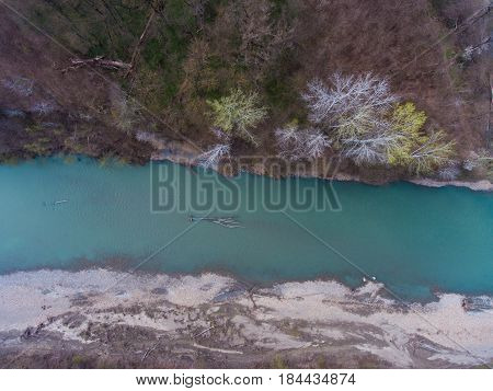 Aerial View From The Air On A Fallen Tree In The River