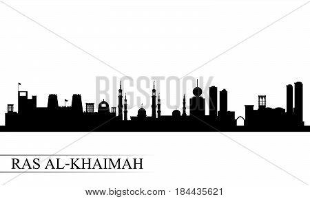 Ras Al-khaimah City Skyline Silhouette Background
