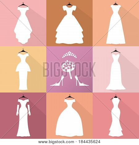 Wedding dresses icons. Different styles.Flat Fashion bride Dress made in modern style.White dress , accessories set , silhouette.Holiday vector background.Bridal shower composition