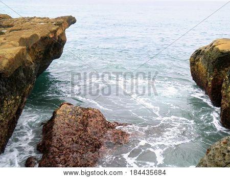 Coastal rocks. Coastal view. Sea is quiet