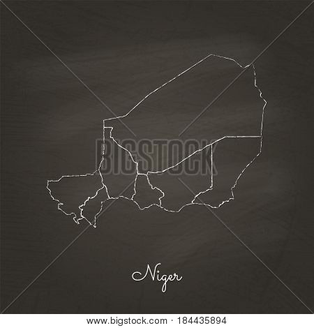 Niger Region Map: Hand Drawn With White Chalk On School Blackboard Texture. Detailed Map Of Niger Re