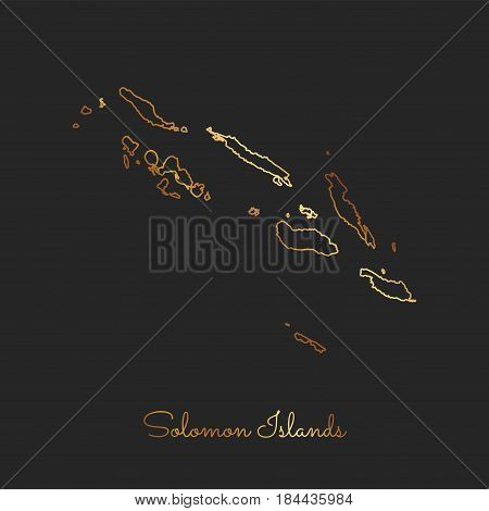 Solomon Islands Region Map: Golden Gradient Outline On Dark Background. Detailed Map Of Solomon Isla