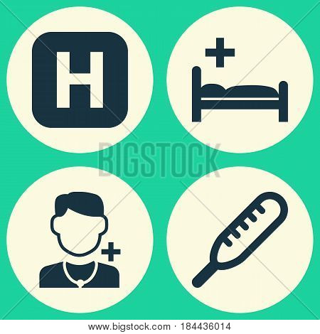 Antibiotic Icons Set. Collection Of Physician, Polyclinic, Ache And Other Elements. Also Includes Symbols Such As Capsule, Healthy, Physician.