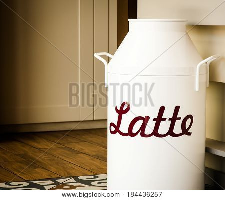 vintage white milk can on a patterned floor