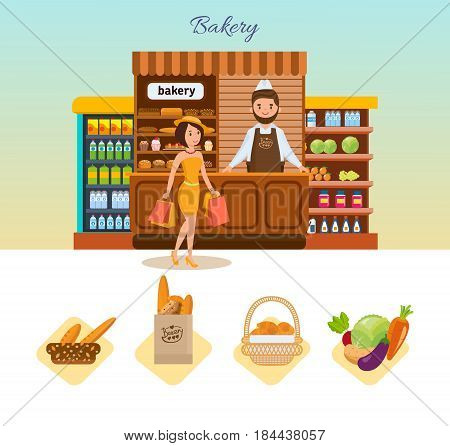 Set of bakery products and elite bread, sweets. Seller in apron and headdress standing at food counter. Buyer engaged of shopping in store of bakery. Vector illustration isolated on white background.