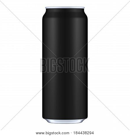 Black Metal Aluminum Beverage Drink Can 500ml. Mockup Template Ready For Your Design. Isolated On White Background. Product Packing. Vector EPS10 Product Packing Vector EPS10