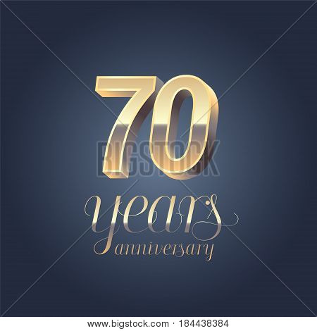 70th anniversary vector icon logo. Gold color graphic design element for 70 years anniversary birthday banner