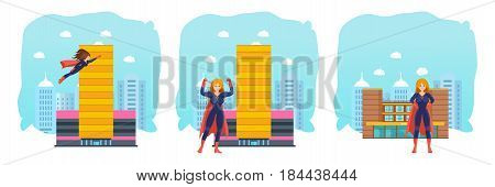 Set of female superhero in different situations and poses. Long haired superwoman, actions set in cartoon colored style in costume on background city. Vector illustration isolated in cartoon style.