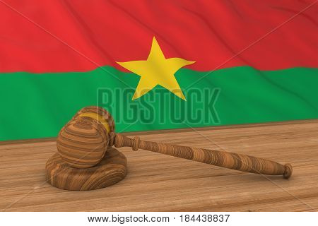 Burkinabe Law Concept - Flag Of Burkina Faso Behind Judge's Gavel 3D Illustration