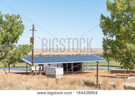STORMSVLEI SOUTH AFRICA - MARCH 26 2017: A solar power installation on a farm near Stormsvlei in the Western Cape Province