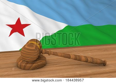 Djiboutian Law Concept - Flag Of Djibouti Behind Judge's Gavel 3D Illustration