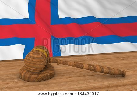 Faroese Law Concept - Flag Of Faroe Islands Behind Judge's Gavel 3D Illustration
