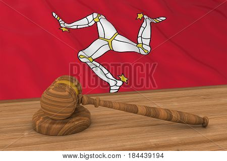 Manx Law Concept - Flag Of Isle Of Man Behind Judge's Gavel 3D Illustration