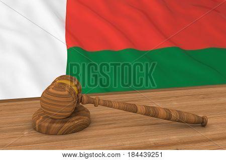 Malagasy Law Concept - Flag Of Madagascar Behind Judge's Gavel 3D Illustration