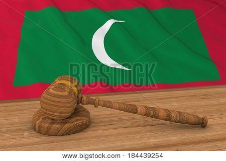Maldivian Law Concept - Flag Of Maldives Behind Judge's Gavel 3D Illustration