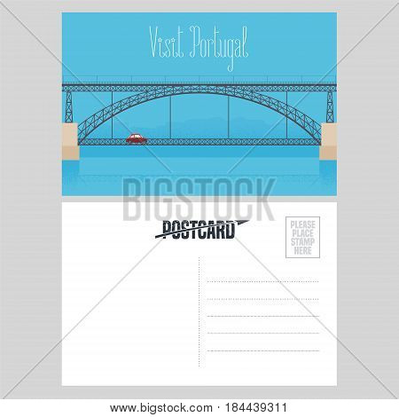 Postcard from Portugal with Porto bridge over Douro river vector illustration. Portuguese landmark design element in template card with post stamp
