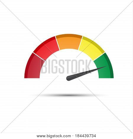 Color tachometer with a pointer in the green part speedometer and performance measurement icon vector illustration for your website infographic and apps
