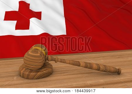 Tongan Law Concept - Flag Of Tonga Behind Judge's Gavel 3D Illustration