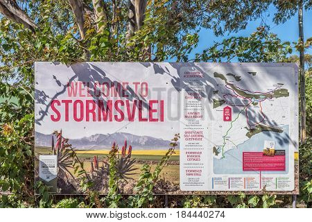STORMSVLEI SOUTH AFRICA - MARCH 26 2017: An information board at Stormsvlei a hamlet in the Western Cape Province