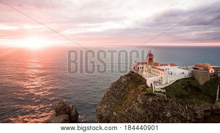 A view of the cliffs of Cape St. Vincent before sunset. Portugal. Region Algarve