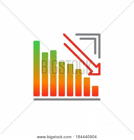 Arrow graph going down icon vector filled flat sign solid colorful pictogram isolated on white. Crisis symbol logo illustration poster