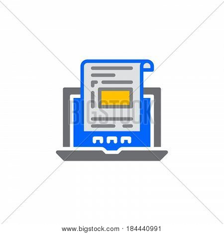 Laptop with document invoice icon vector filled flat sign solid colorful pictogram isolated on white. Symbol logo illustration