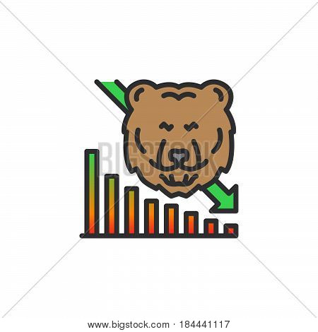 Stock market going down line icon filled outline vector sign linear colorful pictogram isolated on white. Bear trend symbol logo illustration