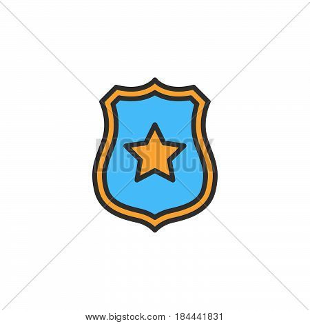 Sheriff badge with star line icon filled outline vector sign linear colorful pictogram isolated on white. Public safety symbol logo illustration