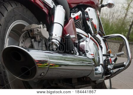 Chrome Exhaust Motorcycle Rear View