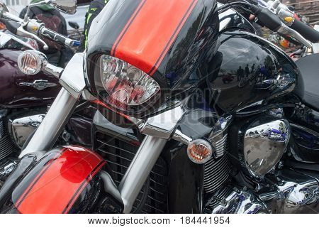 Cool Red Motorbike With Chrome Parts