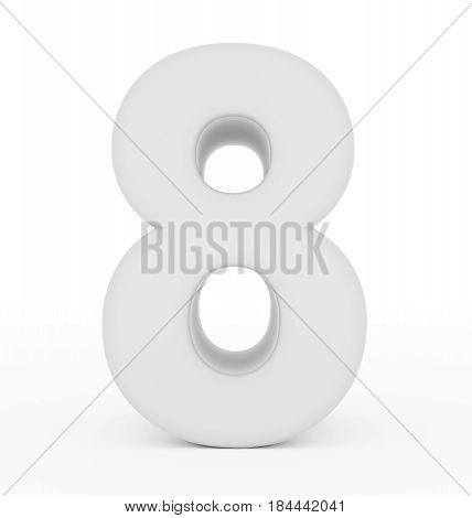 Number 8 3D White Isolated On White