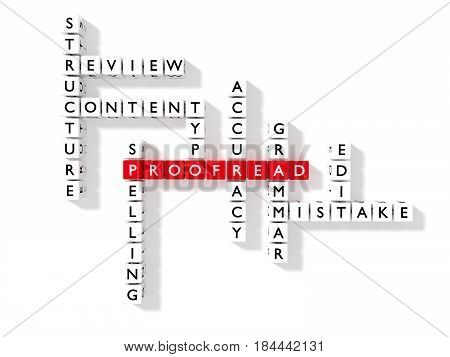 Crossword puzzle showing proofreading keywords as dice on a white proofread concept flat view 3D illustration