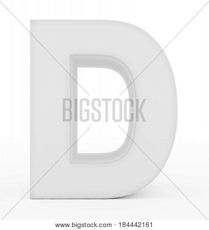Letter D 3D White Isolated On White