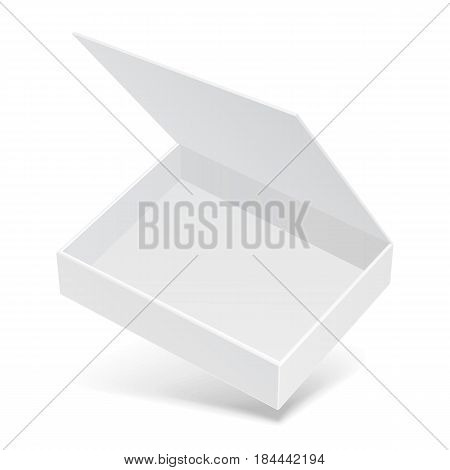 White Open Flying Product Cardboard Package Box With Shadow. Illustration Isolated On White Background. Mock Up Template Ready For Your Design. Vector EPS10