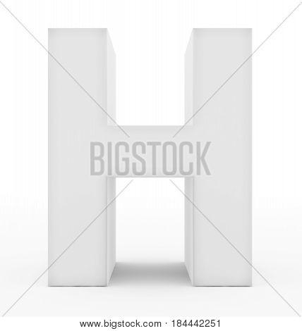 Letter H 3D White Isolated On White