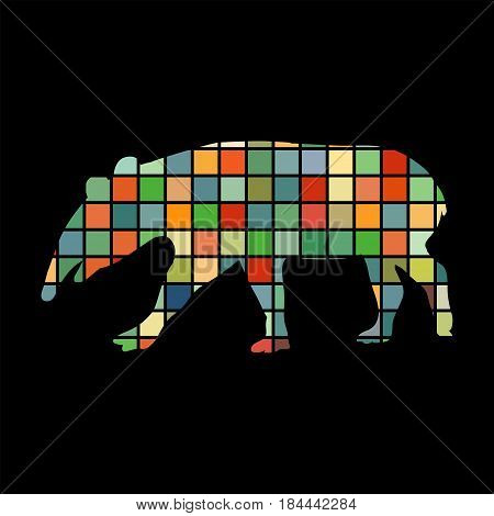 Tapir mammal color silhouette animal. Vector Illustrator.