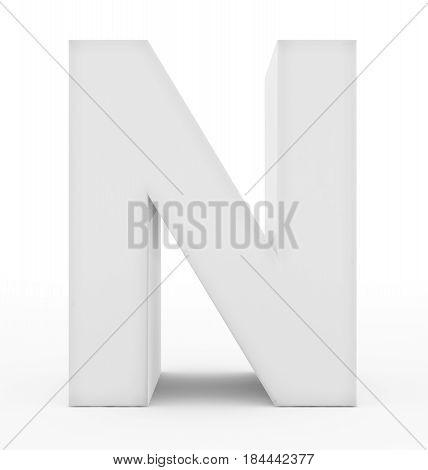 Letter N 3D White Isolated On White
